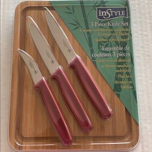 Bamboo cutting board and knife set NIP